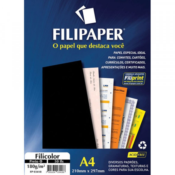 PAPEL FILICOLOR PRETO 180 G FILIPAPER